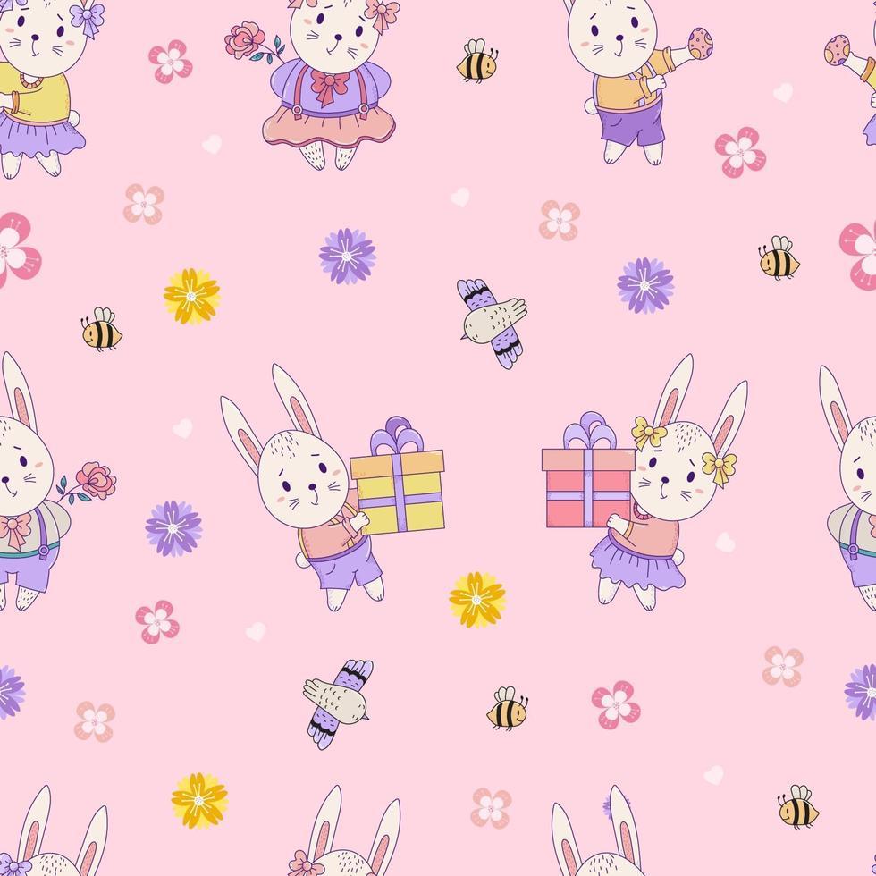 padrões sem emenda com animais fofos. coelhinhos da Páscoa - menino e menina com presentes e ovos de Páscoa em um fundo rosa com flores e pássaros. vetor. para design, decoração, impressão, embalagem e papel de parede vetor