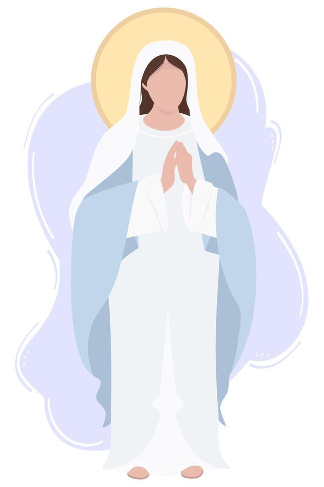 Santa Maria Mãe de Deus ou Mãe de Deus. a virgem maria em uma maforia azul reza humildemente. ilustração vetorial para comunidades cristãs e católicas, design, decoração de feriados religiosos e história vetor