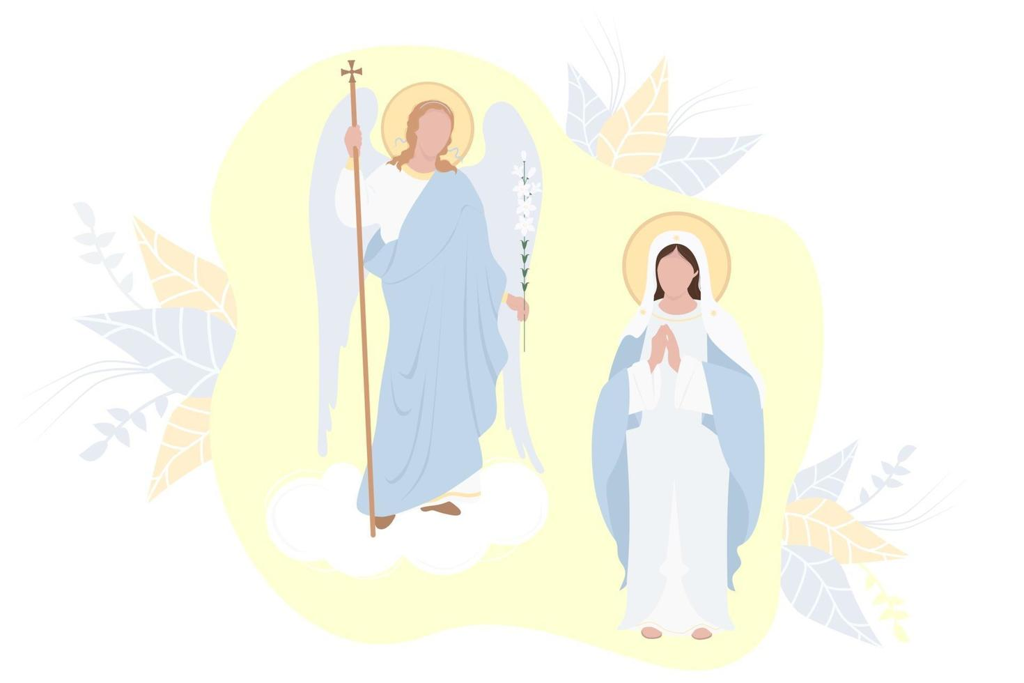 anunciação do santíssimo theotokos. virgem maria, mãe de cristo em uma maforia azul e o arcanjo gabriel com um lírio em um fundo amarelo. feriado religioso católico e ortodoxo. vetor
