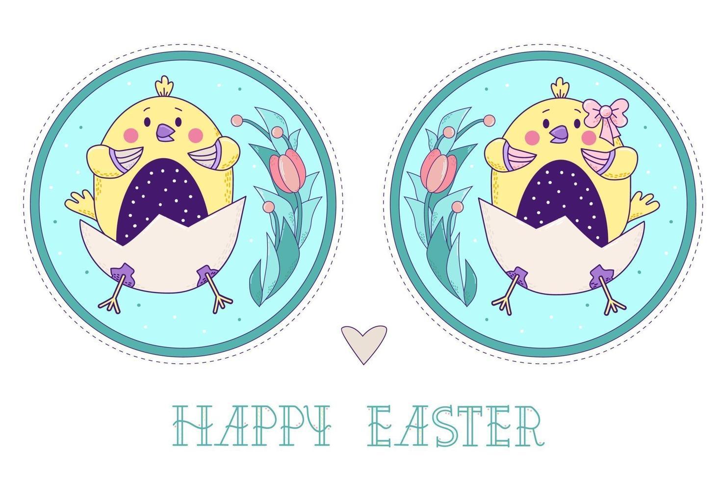 um par de pássaros amarelos bonitos. Páscoa pintinhos menina e menino em um ovo com um buquê de flores em um medalhão decorativo redondo. ilustração vetorial. colorido cartão decorativo feliz páscoa vetor