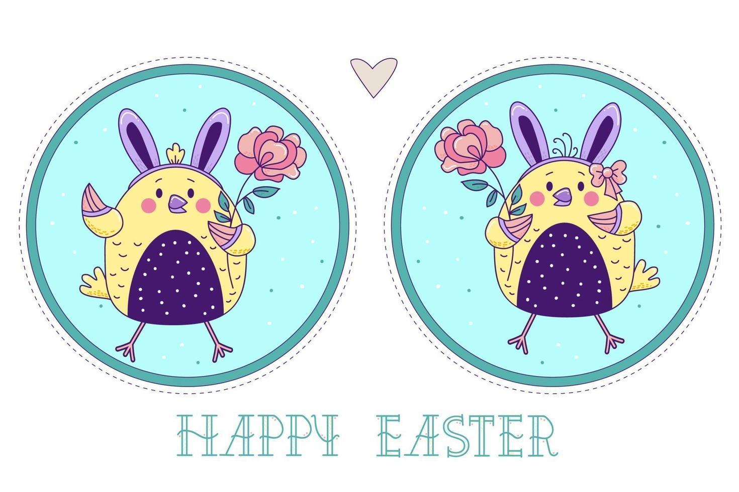 um par de pássaros bonitos. Páscoa pintinhos menina e menino com orelhas de coelho e com uma rosa em um fundo redondo decorativo. ilustração vetorial. cartão colorido feliz páscoa vetor