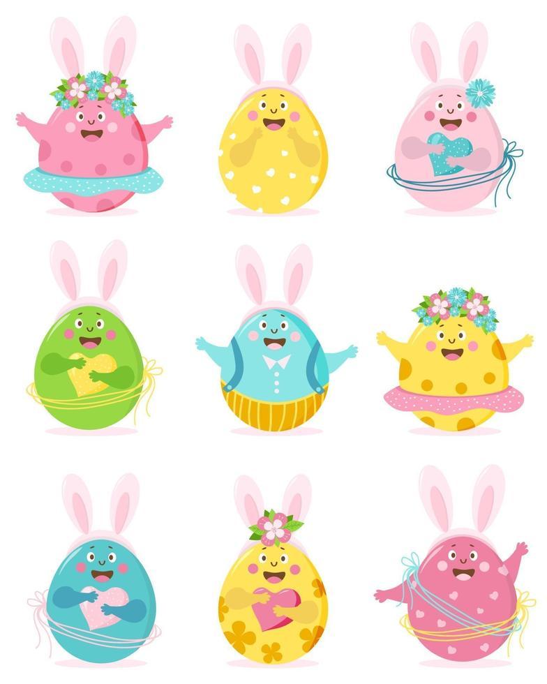 Feliz Páscoa. conjunto de ovos de Páscoa bonitos coloridos com rosto, olhos, mãos e orelhas de coelho. os personagens são um menino e uma menina, de saia e calça, com flores e corações. ilustração vetorial vetor