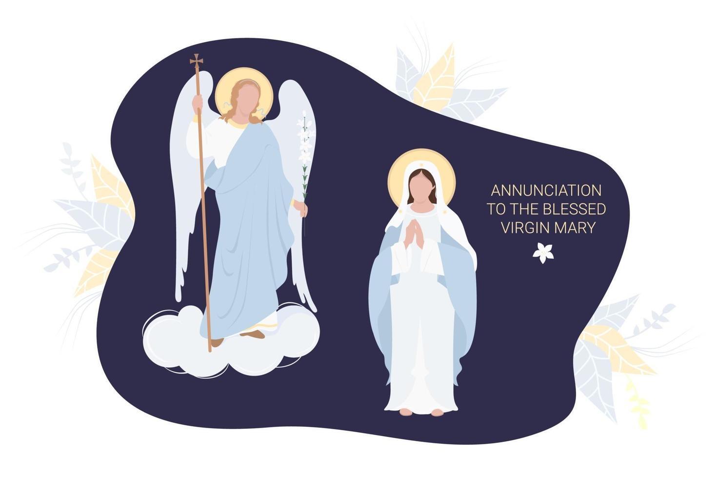anunciação à bem-aventurada virgem maria. a virgem maria em uma maforia azul reza humildemente e o arcanjo Gabriel com um lírio. vetor. para comunidades cristãs e católicas, feriado religioso cartão-postal vetor