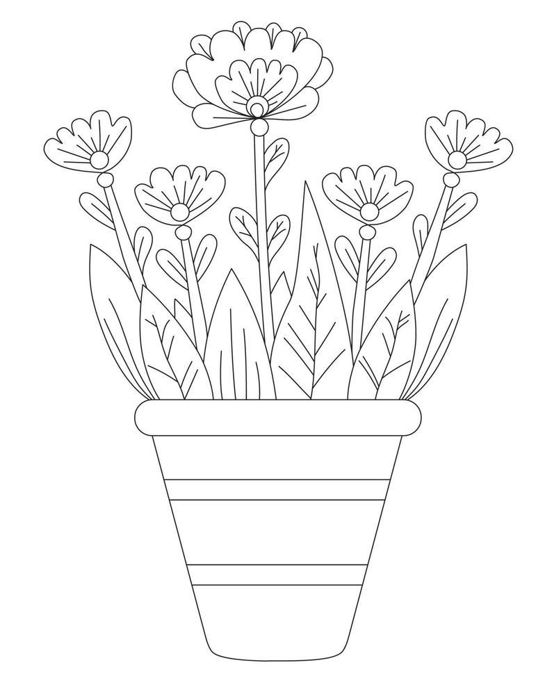 flores da primavera em uma panela. desenho vetorial. linha preta, contorno. fundo branco. planta de casa decorativa em um vaso de flores para impressão, decoração e design, impressão, decoração e cartões vetor