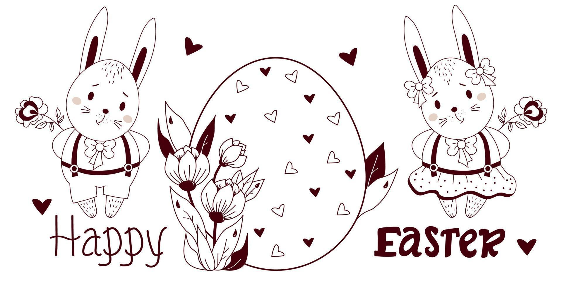 Feliz Páscoa - cartão com lindos coelhinhos da Páscoa. menino e menina com um grande ovo de Páscoa e flores. ilustração vetorial, esboço. para design, decoração, cartões comemorativos e impressão, registro, parabéns vetor