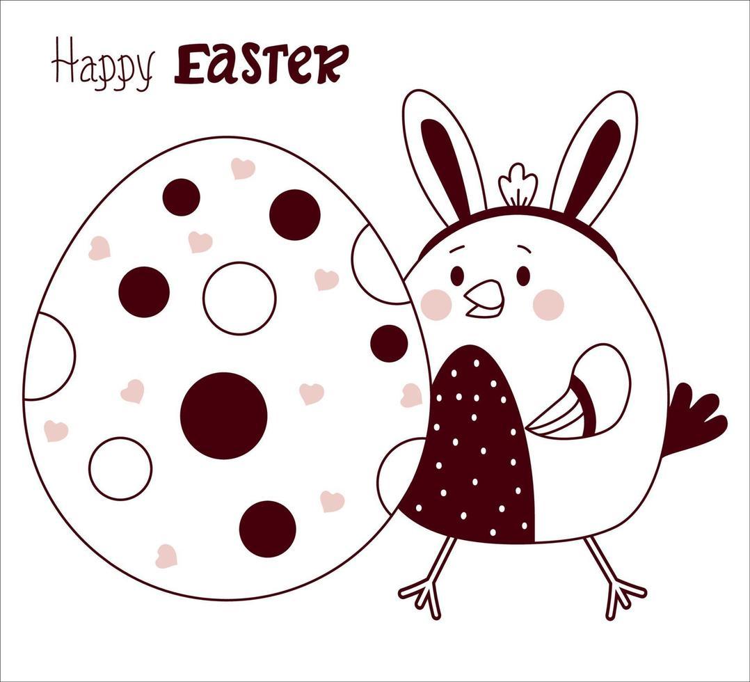 frango bonito da Páscoa com orelhas de coelho com um grande ovo de Páscoa. vetor. cartão de feliz Páscoa - Páscoa esboçada. linha, esboço. para design, decoração, impressão, cartões de férias, banners vetor