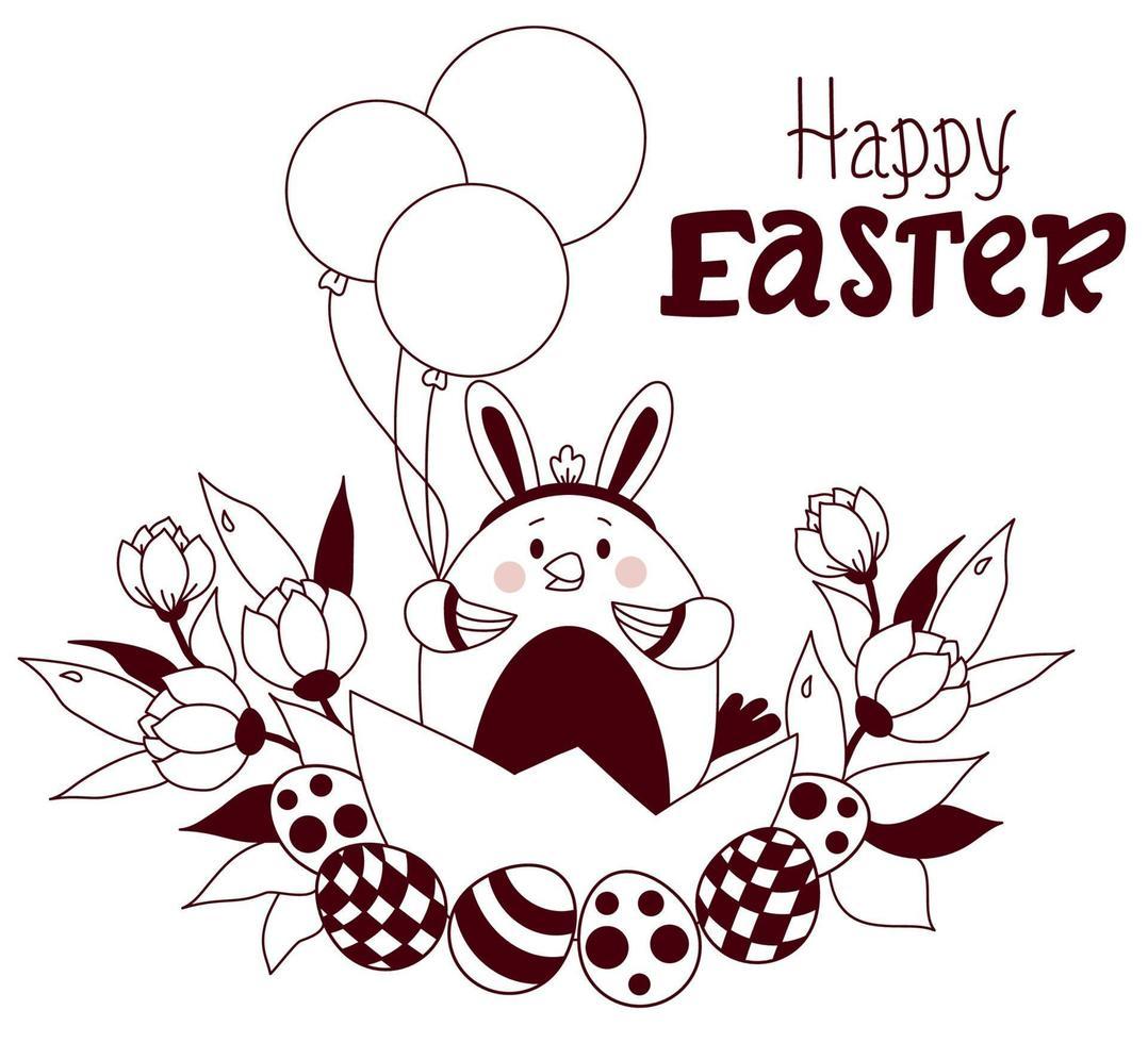 cartão de feliz Páscoa. frango da Páscoa com orelhas de coelho na cabeça, com ovos de Páscoa, balões e um buquê de flores. vetor. Páscoa esboçada, esboço. para design, decoração, impressão, cartões de férias, banners vetor