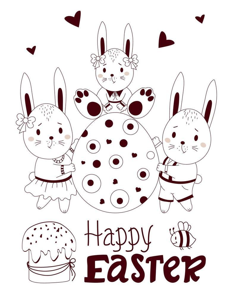 Feliz Páscoa - cartão com lindos coelhinhos da Páscoa. família - um menino e uma menina estão segurando um grande ovo de Páscoa com um coelhinho bebê. ilustração vetorial, esboço. para design, decoração, cartões postais e impressão vetor