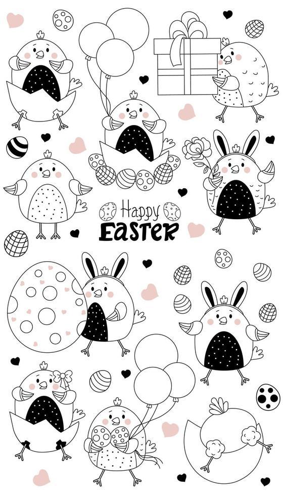 conjunto de personagens de Páscoa. lindos pintinhos de páscoa - nascidos de um ovo, uma garota galinha, um menino com ovos de páscoa e balões, uma caixa e um presente. vetor, linha. para cartões feliz páscoa, design, decoração, impressão vetor