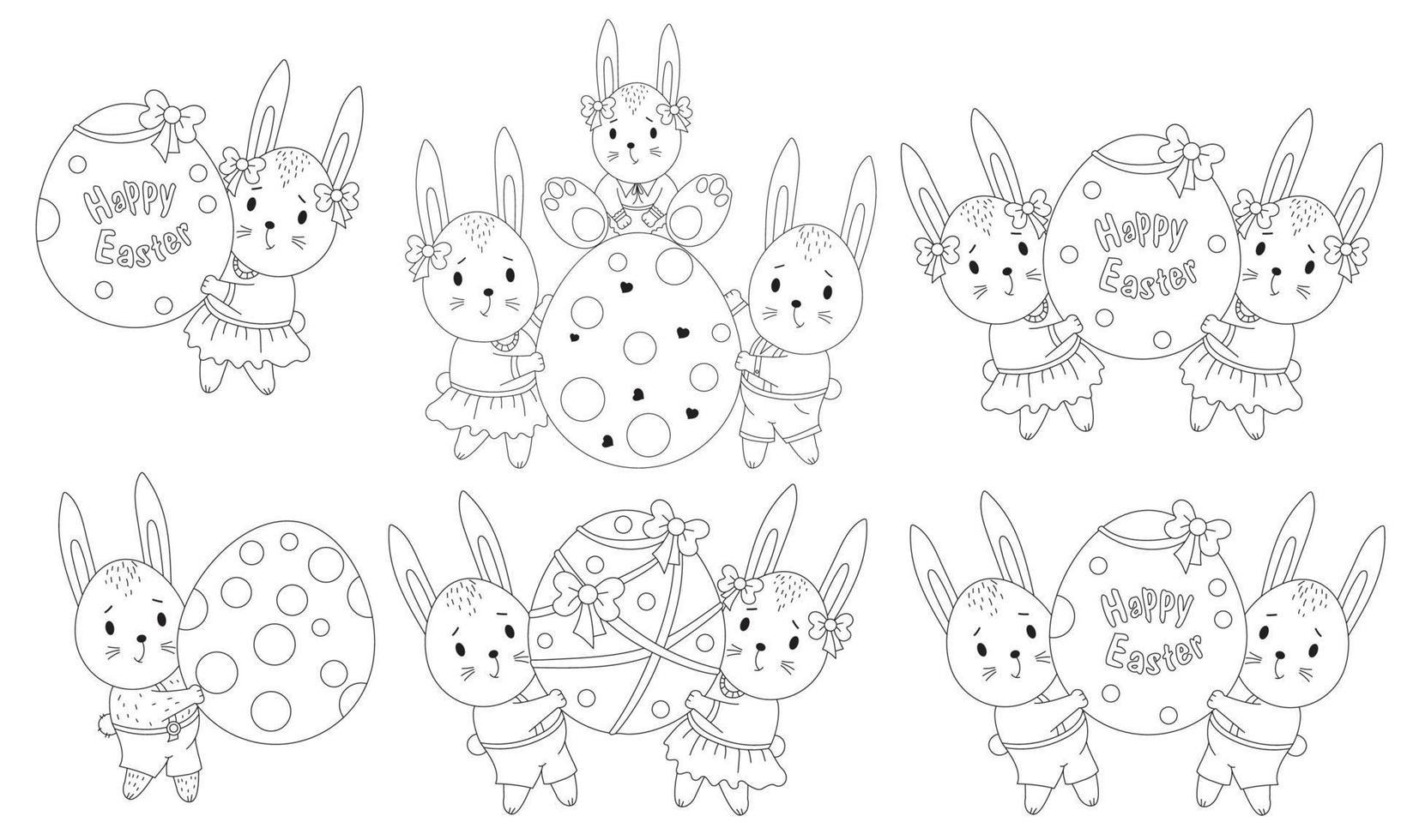 conjunto de desenhos de Páscoa com bonitos coelhinhos da Páscoa e um grande ovo de Páscoa. família animal - uma menina, um menino e um bebê. ilustração vetorial. linha, esboço. desenhos decorativos para projeto feliz páscoa vetor