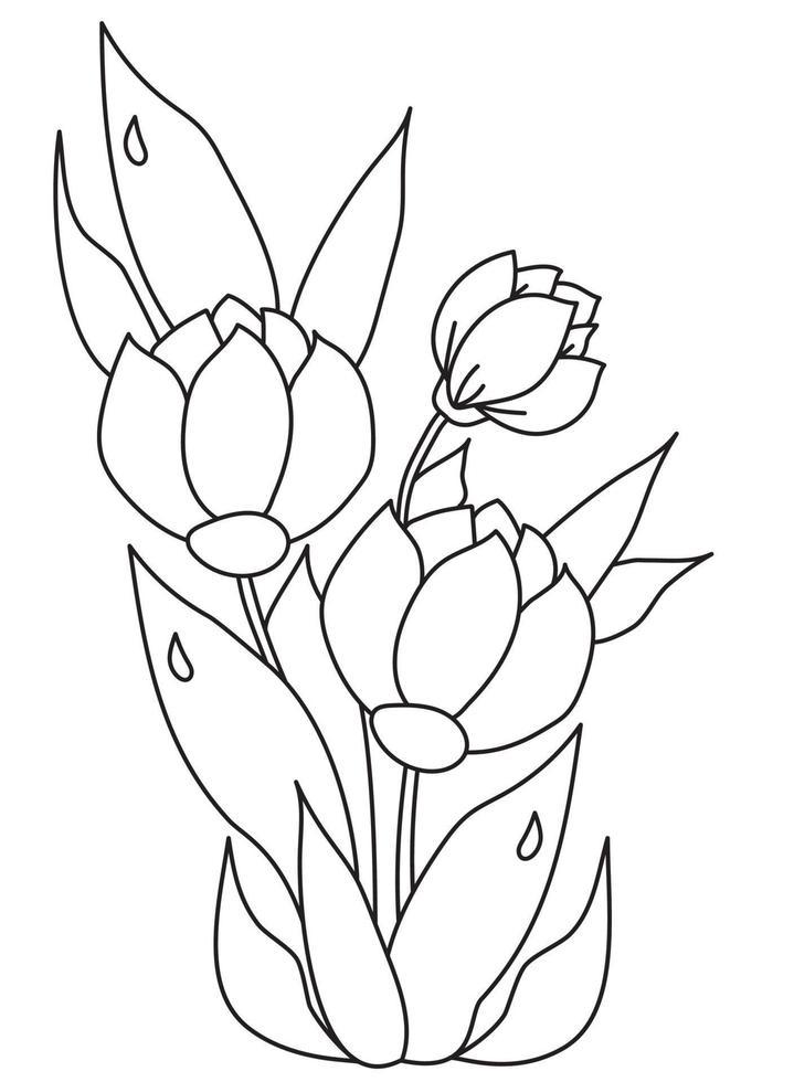 buquê de flores lindas da primavera com folhas com gotas de orvalho. desenho vetorial. linha preta, contorno em um fundo branco. planta de tulipa para impressão, decoração e design vetor