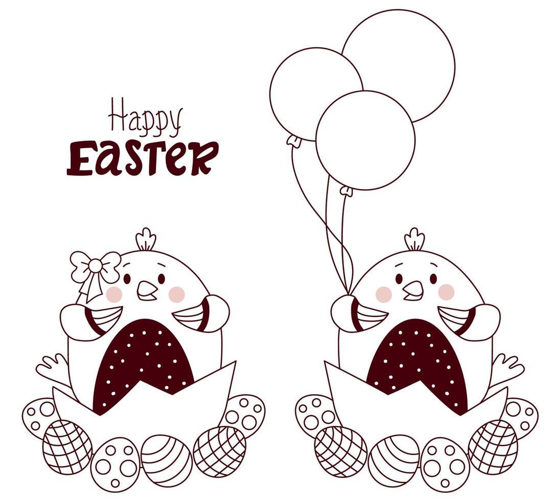 cartão de feliz Páscoa. casal de lindos pintinhos de Páscoa - menino e menina com ovos de Páscoa e balões. vetor. Páscoa esboçada. linha, esboço. para design, decoração, impressão, cartões de férias, banners vetor