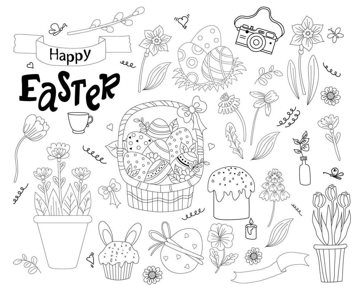 conjunto de rabiscos de Páscoa - cesta com ovos, cupcake, bolos de Páscoa, coelhinho da Páscoa, flores e folhas, salgueiro e tulipas, dente de leão e narciso. vetor. linha. decoração para design de páscoa vetor