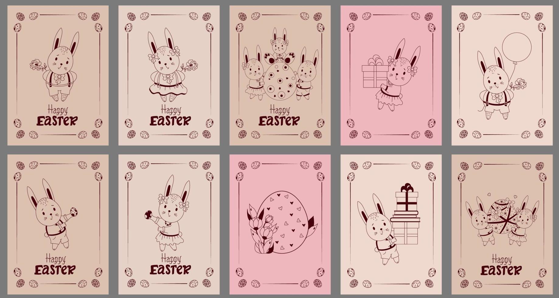 conjunto de cartões postais feliz Páscoa - com lindos coelhinhos da Páscoa. lebre, um menino de shorts, uma menina com uma flor, uma família com uma criança, um ovo de páscoa, presentes e balões. ilustração vetorial, esboço vetor