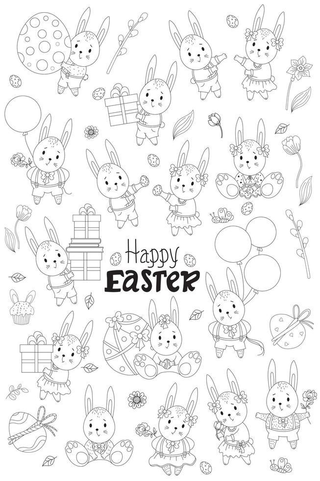 esboço da coleção de Páscoa. fofos coelhinhos da páscoa - meninas em um vestido com um laço, meninos em shorts, com flores, com presente, com um ovo de páscoa, com um balão, flores e pássaros. ilustração vetorial. linha vetor