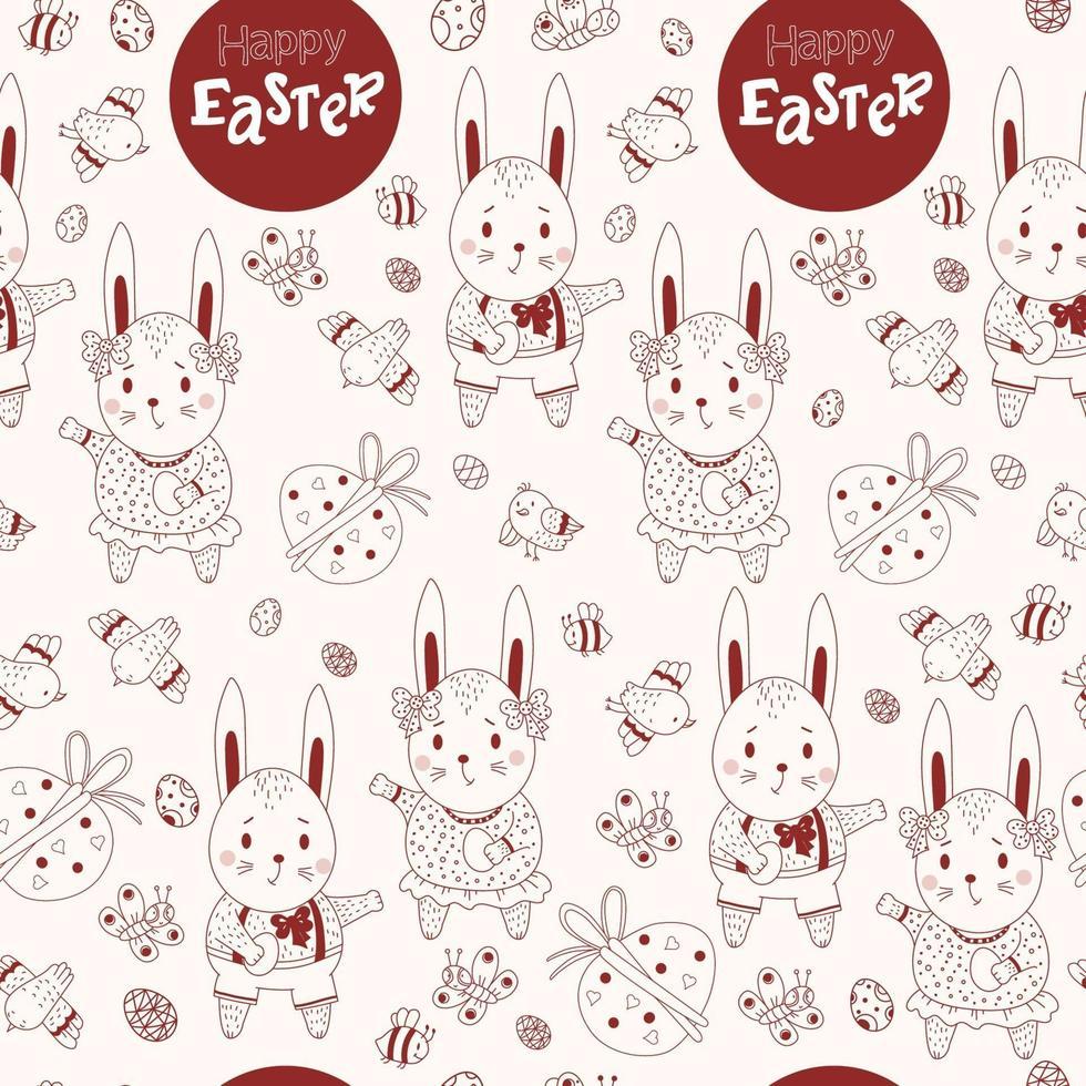 feliz Páscoa padrão sem emenda. padrão de Páscoa de coelhos-meninos e meninas-lebres, ovos decorativos, pássaros e borboletas sobre um fundo claro. ilustração vetorial. linha vermelha, contorno vetor