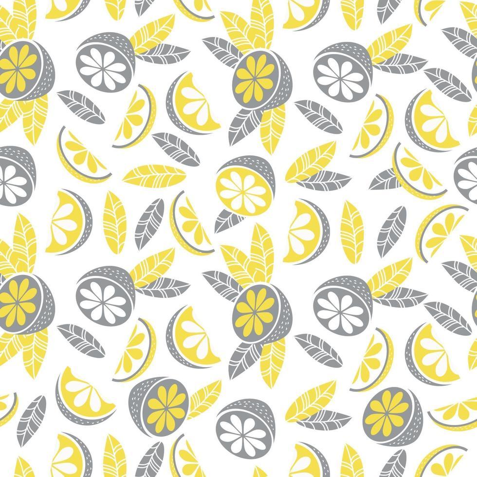 padrão sem emenda na cor cinza-amarelo. decoração, frutas cítricas, folhas e galhos em um fundo branco. ilustração vetorial. para têxteis, papel de parede, design, impressão, embalagem e decoração vetor