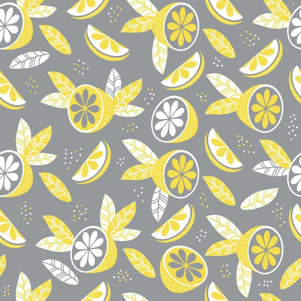 padrão seamless pattern.abstract na cor amarelo-cinza. decoração, frutas e folhas em um fundo cinza. ilustração vetorial. para têxteis, papel de parede, design, impressão, embalagem e decoração vetor