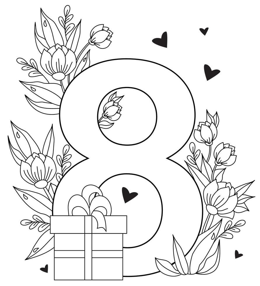 8 de março. cartão de férias para o dia internacional da mulher. o número oito, um buquê de flores, corações e folhas, uma caixa com um presente. vetor. desenho decorativo, linha preta, contorno vetor
