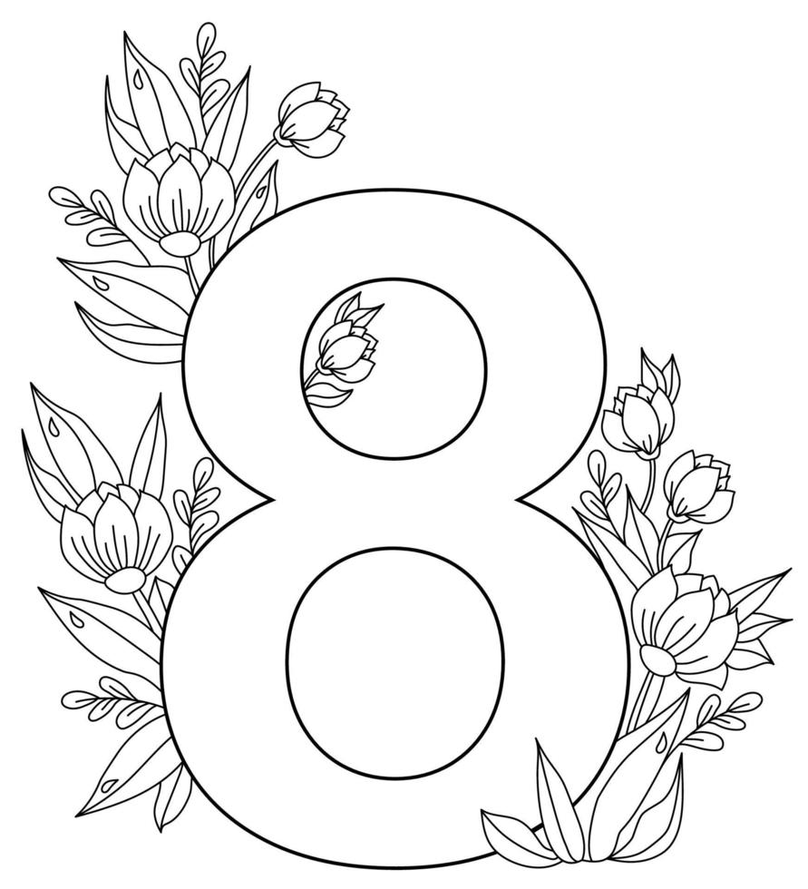 8 de março. cartão de férias para o dia internacional da mulher. o número oito, um buquê de flores, botões e folhas com gotas de orvalho. vetor. ornamento, linha preta, contorno. para impressão, decoração e design vetor
