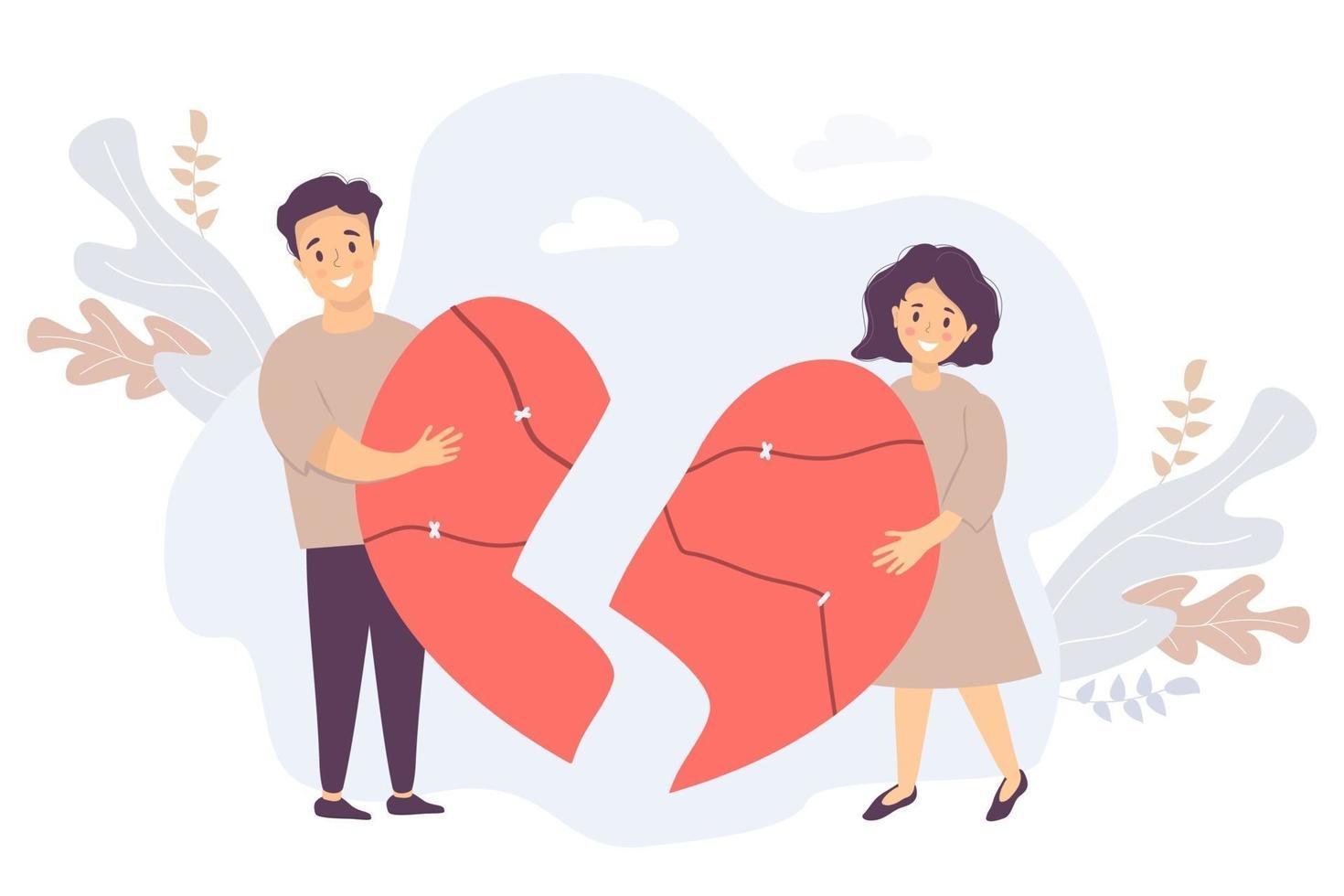 o casal está segurando as metades quebradas do coração. homem e mulher se reúnem, colando-se em um único grande coração vermelho rachado. vetor. conceito de amor, restauração de relacionamentos e família vetor