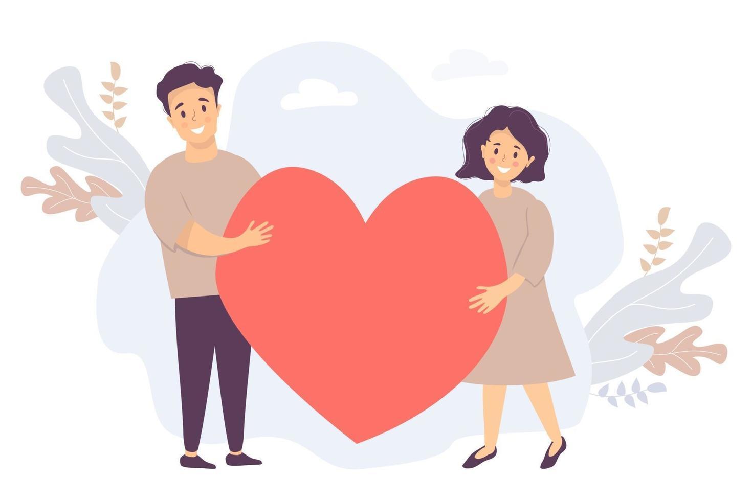 casal segurando um coração. jovem feliz e mulher segurando um grande coração vermelho, o fundo das folhas tropicais. ilustração vetorial para amor, relacionamento, conceito de família, apaixonar-se e romance vetor