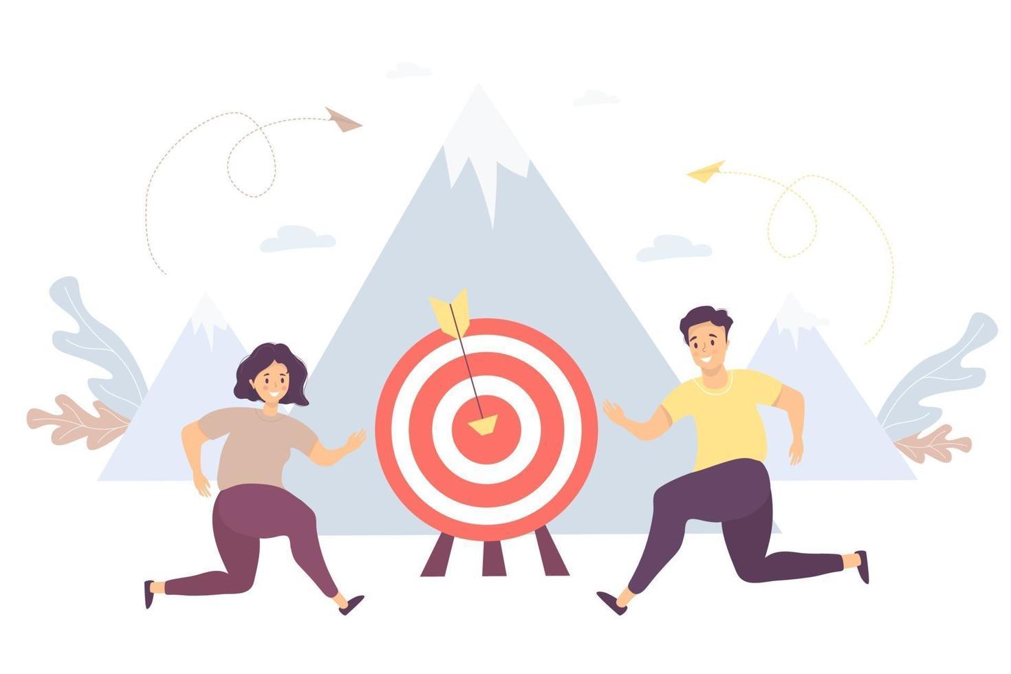 o homem do conceito de negócio e uma mulher estão correndo em direção ao seu objetivo, movimento e motivação para o topo do sucesso. vetor. ilustração trabalho do parceiro, objetivo e realização, sucesso comercial e marketing vetor