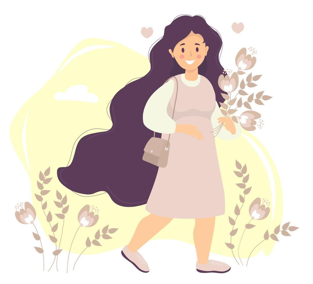 feliz garota com cabelo comprido em um vestido rosa sorri, vai com um buquê. no ombro está uma bolsa feminina. em um fundo com flores e folhas, nuvens e corações. vetor. ilustração plana vetor