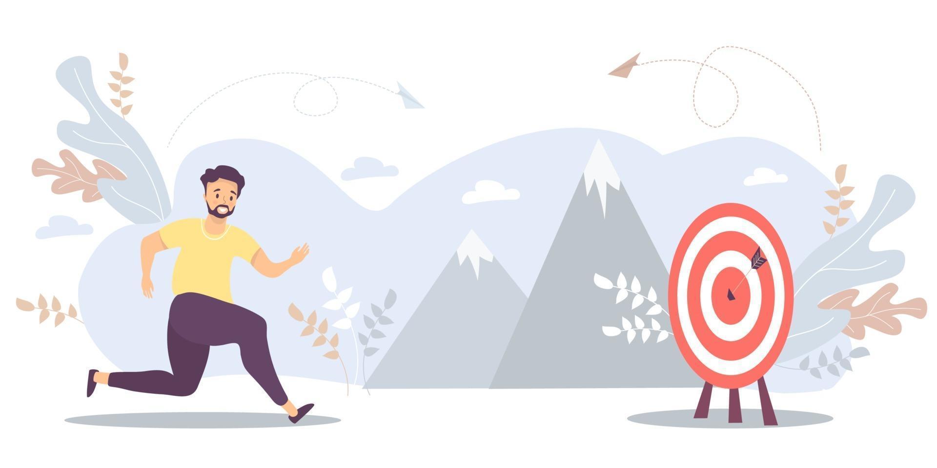 o homem corre para seu objetivo, move a motivação para o alvo, o caminho para o auge do sucesso. vetor para tarefa, objetivo, realização, negócio, conceito de marketing. conceito do caminho para alcançar a meta