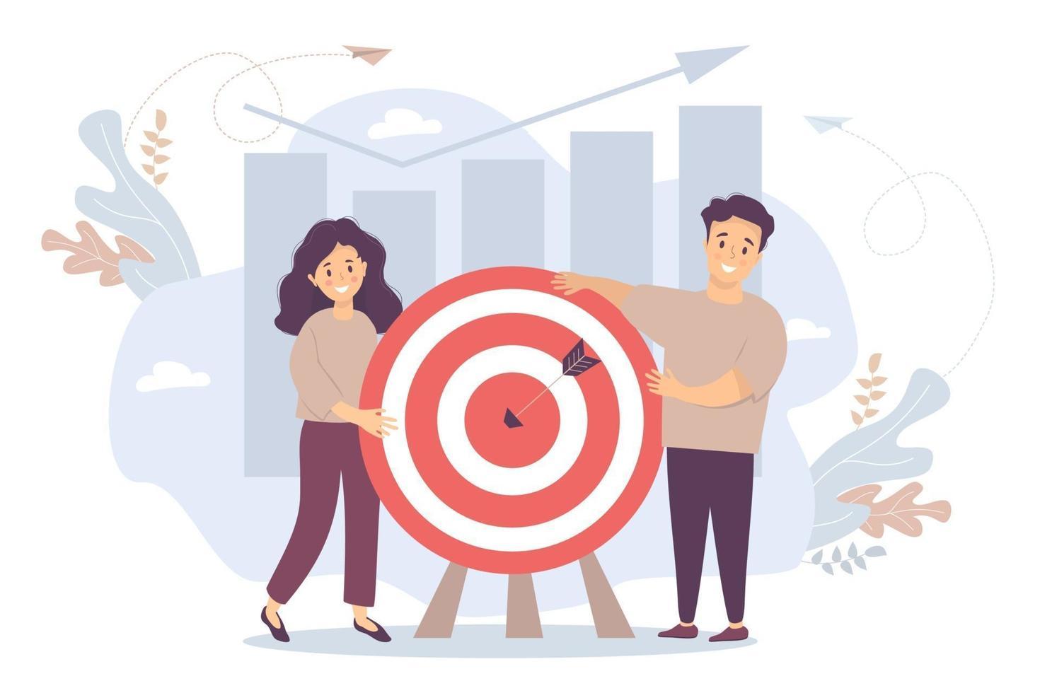 vetor. um homem e uma mulher perto de um alvo com uma flecha no centro. fundo e infográficos, colunas e setas de crescimento para cima. objetivo do conceito, cooperação, resultado e sucesso, realização do objetivo. vetor