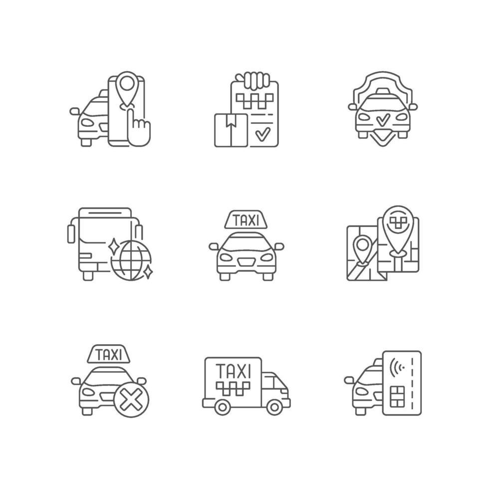 conjunto de ícones lineares de serviço de táxi vetor