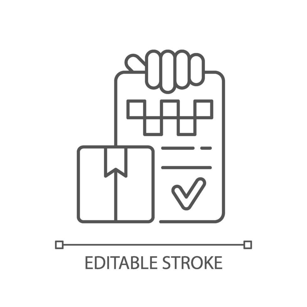 ícone linear de entrega de pacote vetor