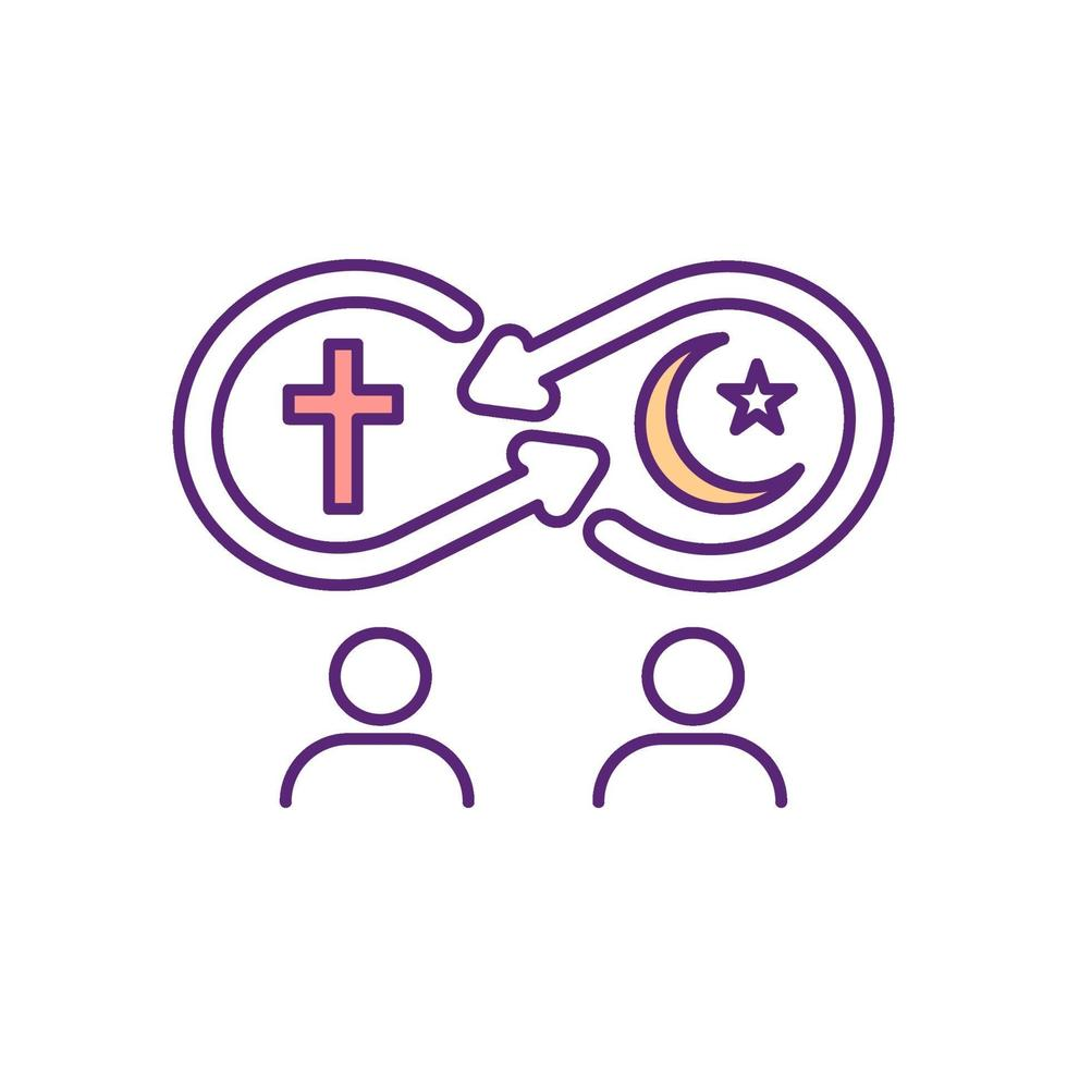 ícone de cor rgb de assimilação religiosa vetor