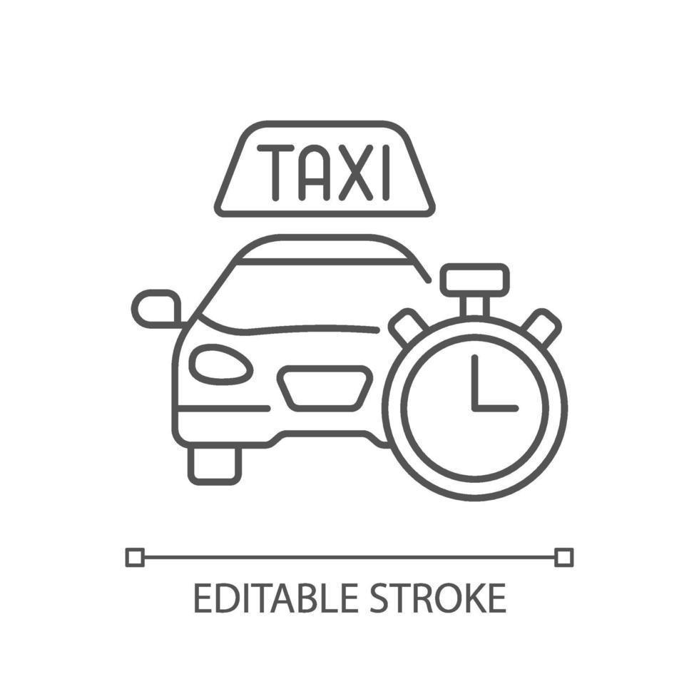 ícone linear de disponibilidade imediata. táxi com relógio. vetor