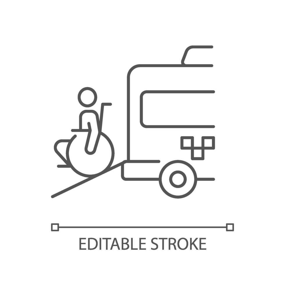 ícone linear van cadeira de rodas vetor