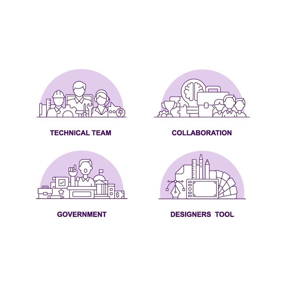 conjunto de ícones de conceito de interface do usuário criativa de princípios de negócios modernos vetor