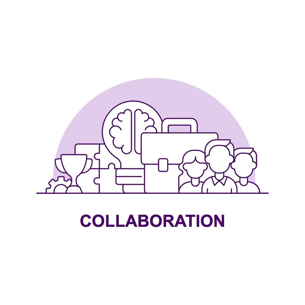 ícone de conceito de interface do usuário criativa de colaboração vetor