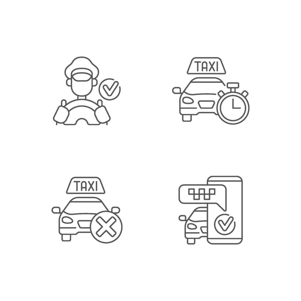 conjunto de ícones lineares de serviço de táxi urbano vetor