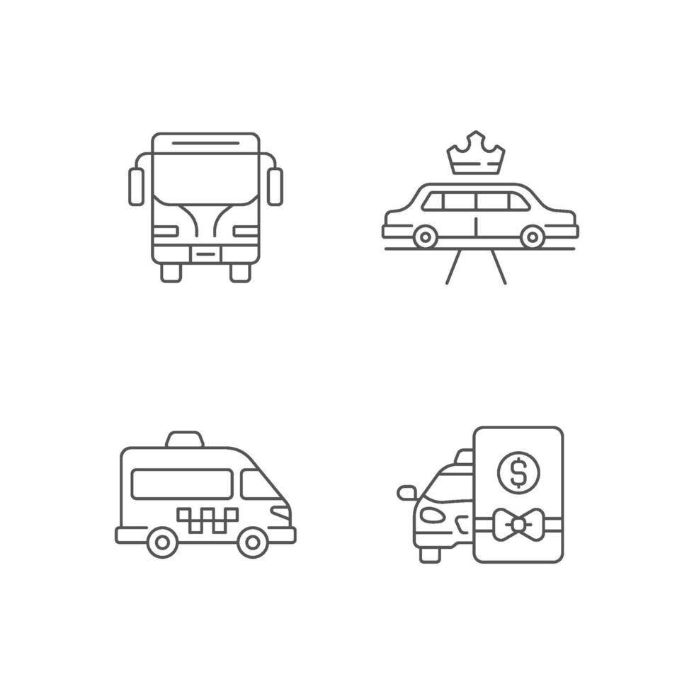 conjunto de ícones lineares de transporte público da cidade vetor