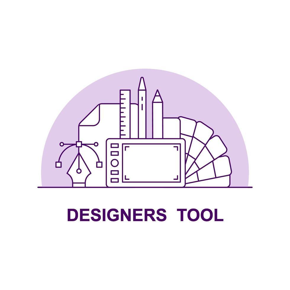 ícone de conceito de interface do usuário criativa de ferramentas de designer vetor