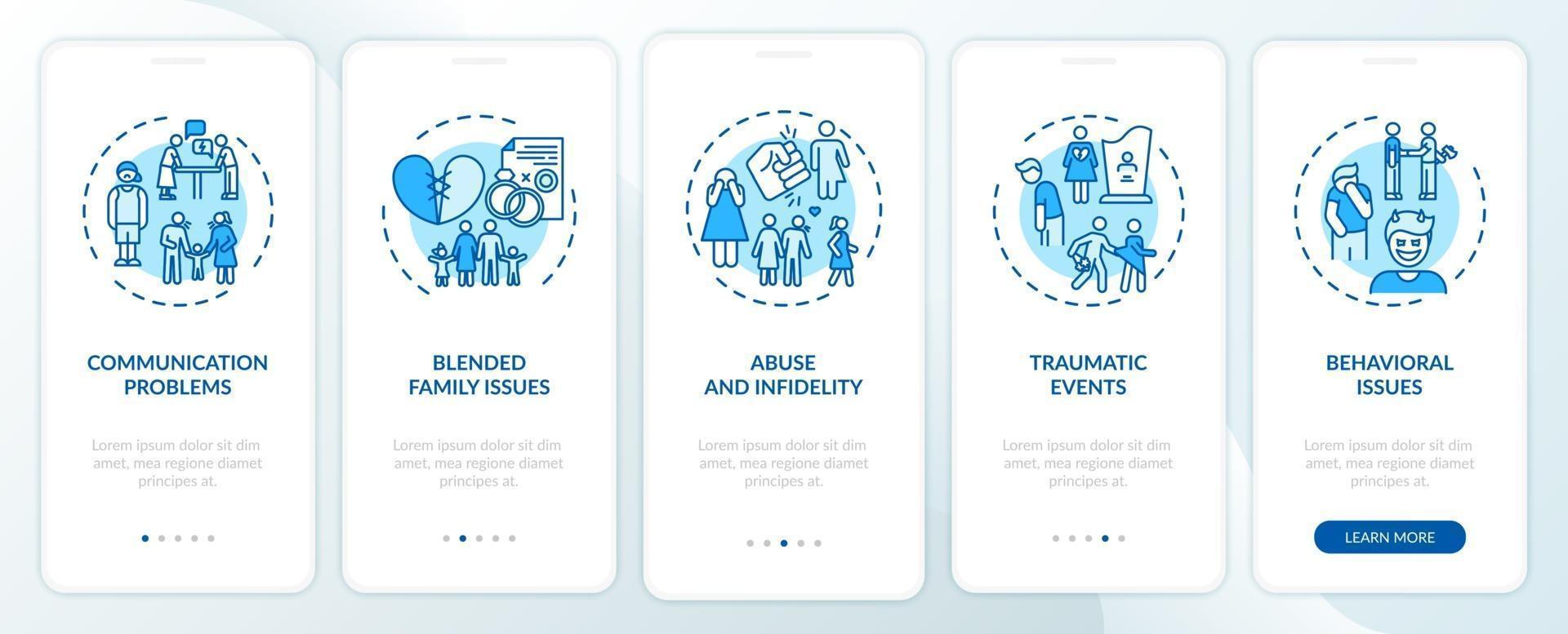 tipos de terapia familiar on-line de integração tela da página do aplicativo móvel com conceitos vetor