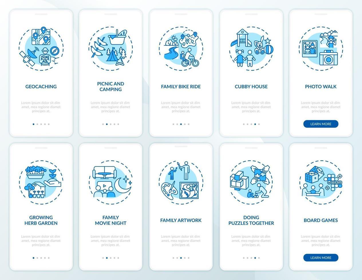 tela de página de aplicativo para dispositivos móveis de diversão para a família com conjunto de conceitos vetor