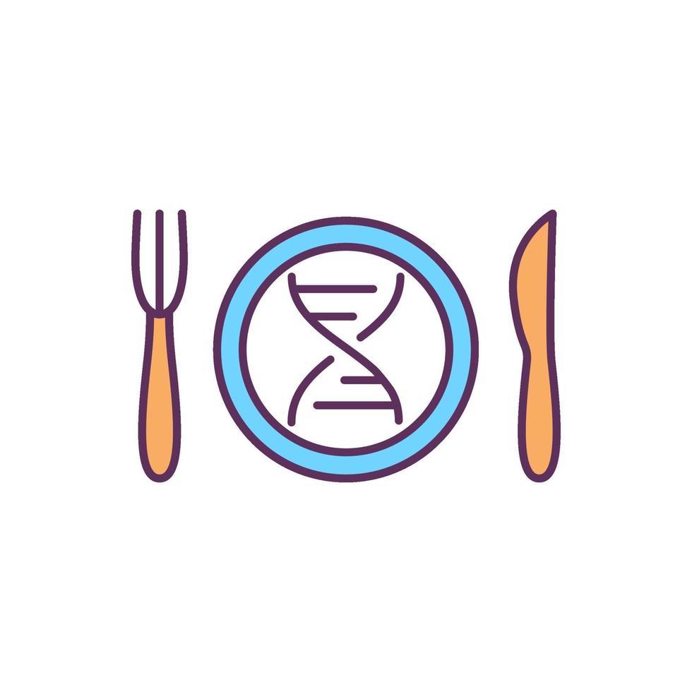 nutrigenômica ícone de cor rgb vetor