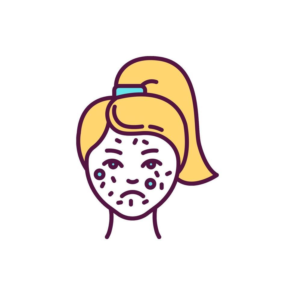 reação alérgica no ícone da cor rgb do rosto vetor