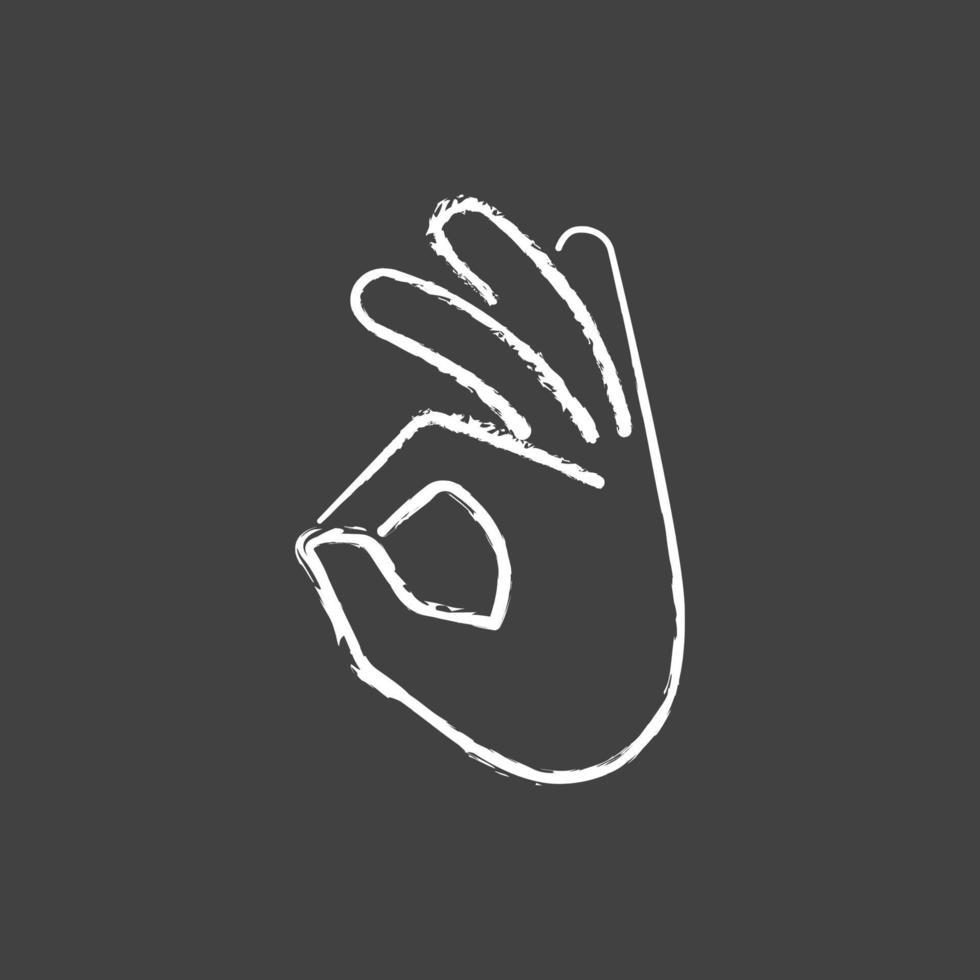 ok gesto giz ícone branco sobre fundo preto vetor