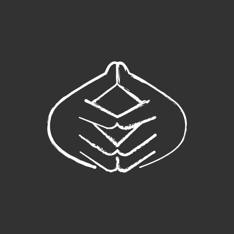 ícone de giz branco do gesto da mão em forma de torre sobre fundo preto vetor