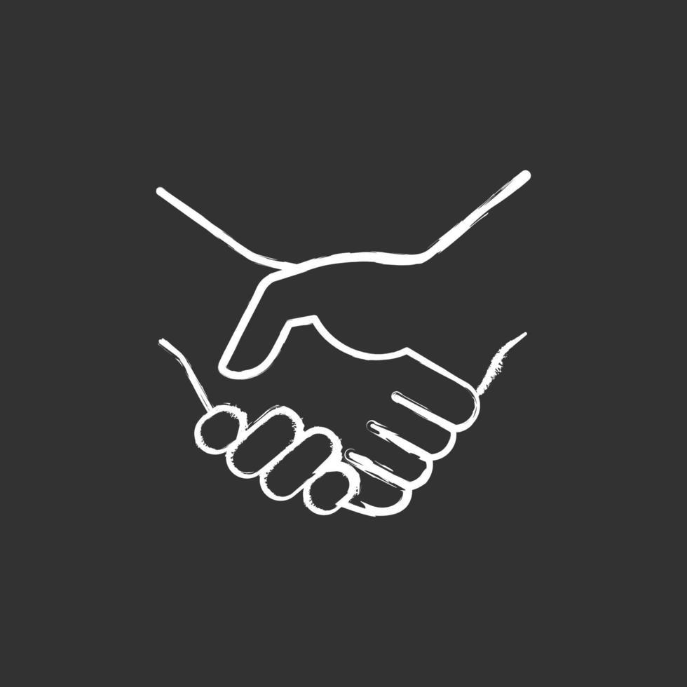 ícone de giz branco de aperto de mão em fundo preto vetor