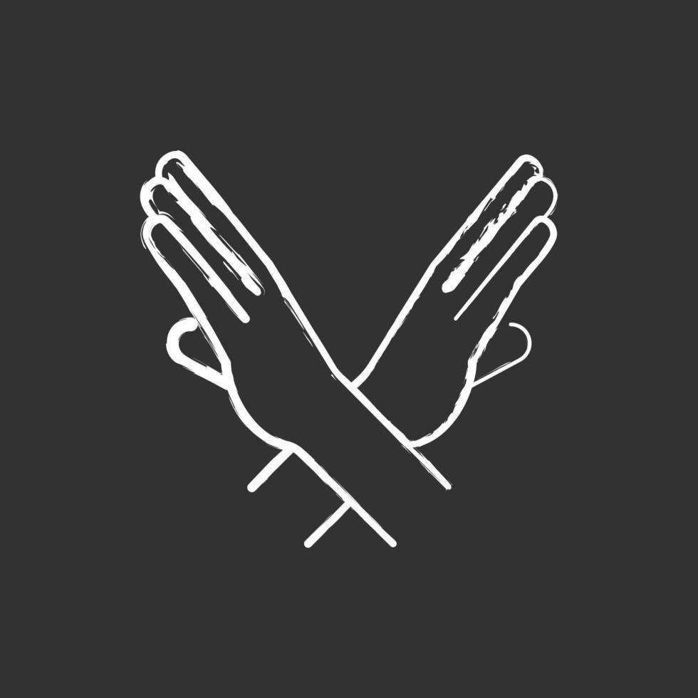 ícone de giz branco de gesto de parada de braços cruzados em fundo preto vetor
