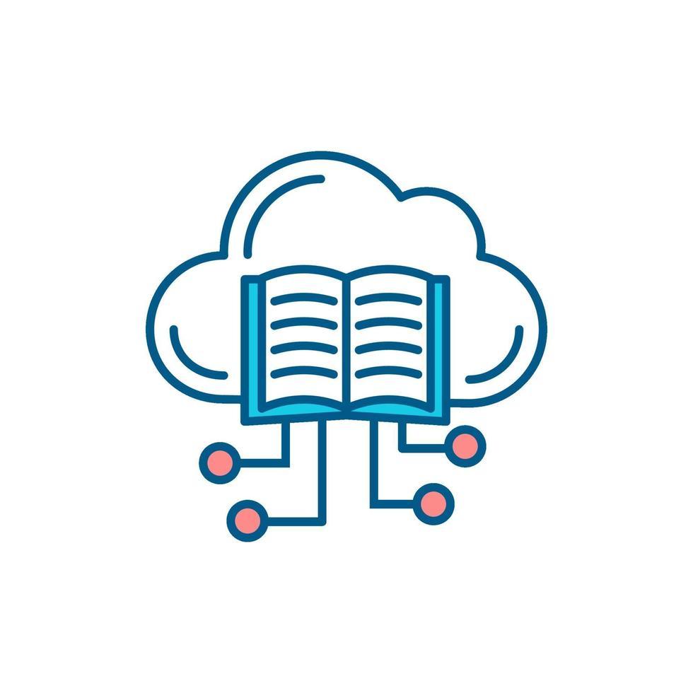 ícone de cor rgb de livros online vetor