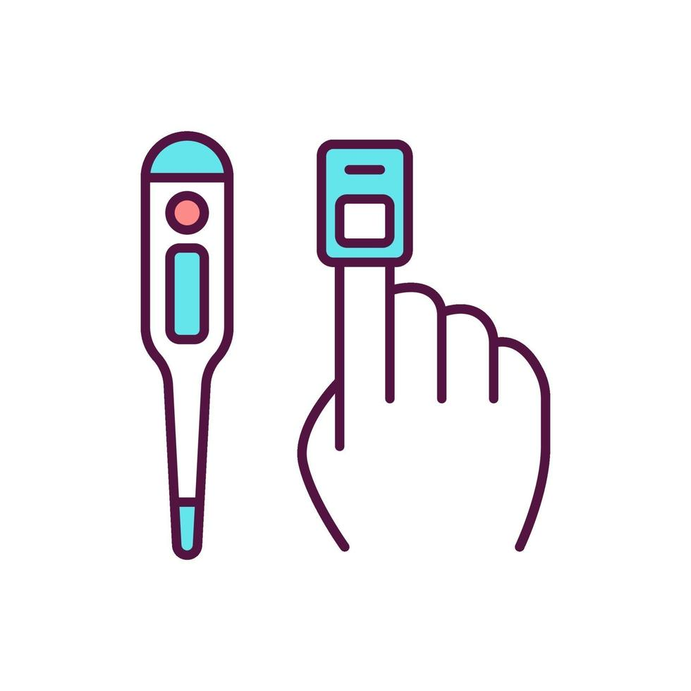 ícone de cor rgb de medição de sinais vitais vetor